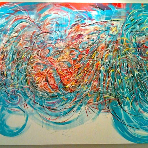 """Aqua Flock"" 2011 Acrylic and Spray-paint on Canvas"